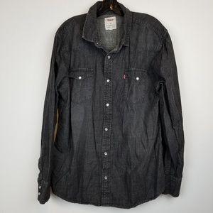 Men's Vintage Levi's black pearl snap shirt sz XL